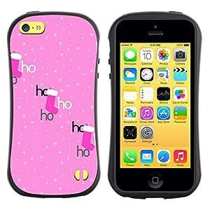 Suave TPU Caso Carcasa de Caucho Funda para Apple Iphone 5C / Ho Polka Dot Xmas Christmas Stocking / STRONG