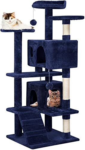 go2buy 51 Inches Cat Tree Furniture for Kittens Beige Brown Navy Gray Blue