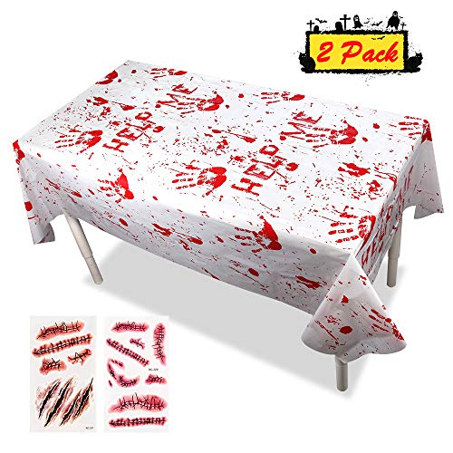 Halloween Decorations Tablecloths - Disposable Plastic Bloody Handprints Tablecovers Zombie Themed Birthday Party Ideas Table Cover Topper Décor Scary Supplies (2-Pack), 51x102inches