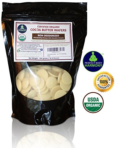 Cocoa Butter Wafers (Non-Deodorized) Best Premium Authentic Certified Organic 16.0 oz Bag. Rich In Antioxidants From Cacao Bean. Pleasant Rich Strong Chocolate Aroma, 16.0 Ounce Bag)
