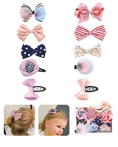 Girls Fabric Ribbon Hair Bow Clips Barrettes For Baby Infant Toddler Kids Teens 10 Lined Pack Accessories