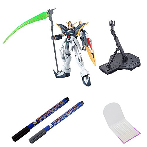 BANDAI BUNDLE SET , Gundam Deathscythe EW Version Bandai MG Action Figure + Action Base 1 Display Stand 1/100 Scale Black + GSI Creos Black + Gray Fine Point Gundam Marker + ORIGINAL COTTON SWAB