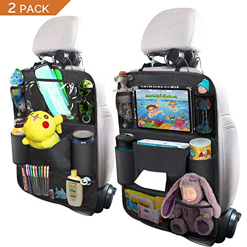 Backseat Car Organizer, OYRGCIK Kick Mats Car Back Seat Protector with Touch Screen Tablet Holder Tissue Box 8 Storage Pockets for Toys Book Bottle Drinks Kids Toddler Road Trip Travel Bag, 2 Pack