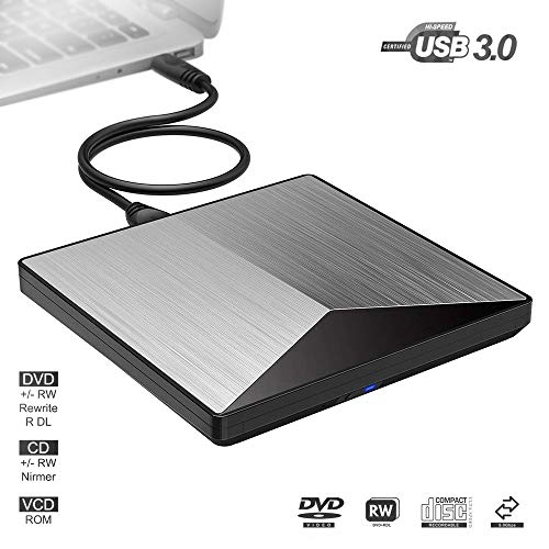 External CD DVD Drive Burner Player USB3.0 Portable Reader External Optical Drives with High Speed Data Transfer for Laptop Air iMac Desktop PC Support Windows10/8/7/XP/Mac OS by fhong