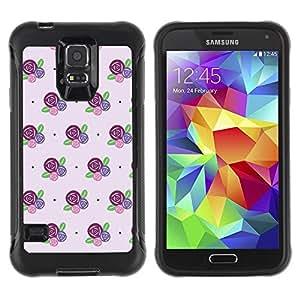LASTONE PHONE CASE / Suave Silicona Caso Carcasa de Caucho Funda para Samsung Galaxy S5 SM-G900 / floral pattern flowers purple pink