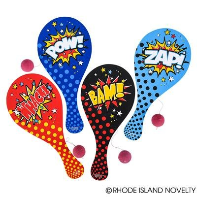 1 Dozen (12) Fun Superhero Paddleball Games-Classic Wood Design by CREVABEN