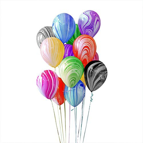 Premium Quality Latex Marble Balloons - 12 Inch - Use with Helium Or Air - for Baby Shower, Wedding, Birthday Party Decoration - Assorted Rainbow Color - 12 Pack - Large ()