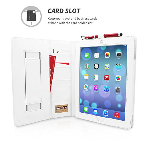 Free Snugg Leather Flip Stand Case for Apple iPad 3 and 4 - Executive White