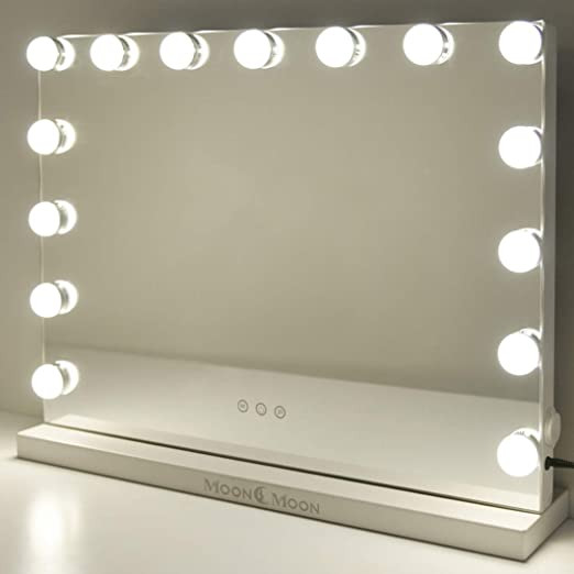 MoonMoon Hollywood Vanity Mirror with Lights,Professional Makeup Mirror with Smart Touch Adjustable 15 Bulbs LED Lights and USB Charging(Black)