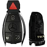 qualitykeylessplus Replacement Keyless Entry 4 Button Case and Pad for Mercedes FCC ID IYZDC07 or IYZDC12