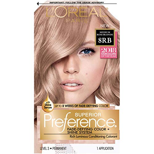 L'Oréal Paris Superior Preference Fade-Defying + Shine Permanent Hair Color, 8RB Medium Rose Blonde, 1 kit Hair Dye