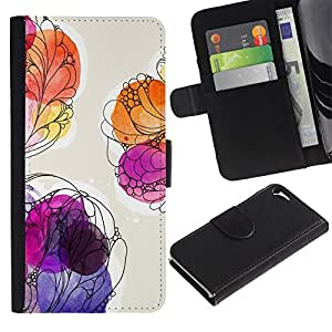 WINCASE Cuadro Funda Voltear Cuero Ranura Tarjetas TPU Carcasas Protectora Cover Case Para Apple Iphone 5 / 5S - pintura floral de la acuarela púrpura verano