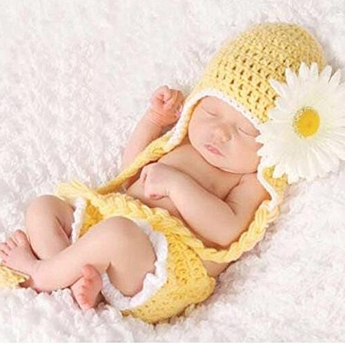Baby Girls Newborn Sunflower Knit Crochet Clothes Beanie Hat Outfit Photo Props (Halloween Costum Ideas)