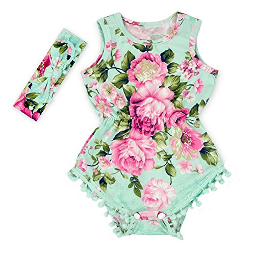 Hot Pink Floral Flower Pom Rompers For Baby Girls with headband 0-3T (S(0-6 months), BLUE)