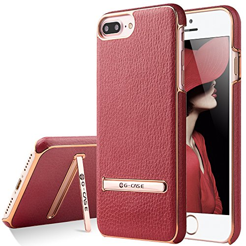 iPhone 7 Plus Case, G-CASE [Plating ] - Red and Metallic Rose Gold [Metal Kickstand][Anti-Scratch][Synthetic Leather][Shockproof] Compatible Apple iPhone 7 Plus (2016)