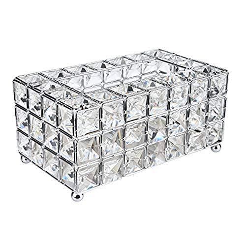 Modern Tissue Box Cover Crystal Decorative Tissue Box Rectangular Holder for Storage on Bathroom Vanity, Countertop, Bedroom Dresser, Night Stand, Desk, Table (Silver)
