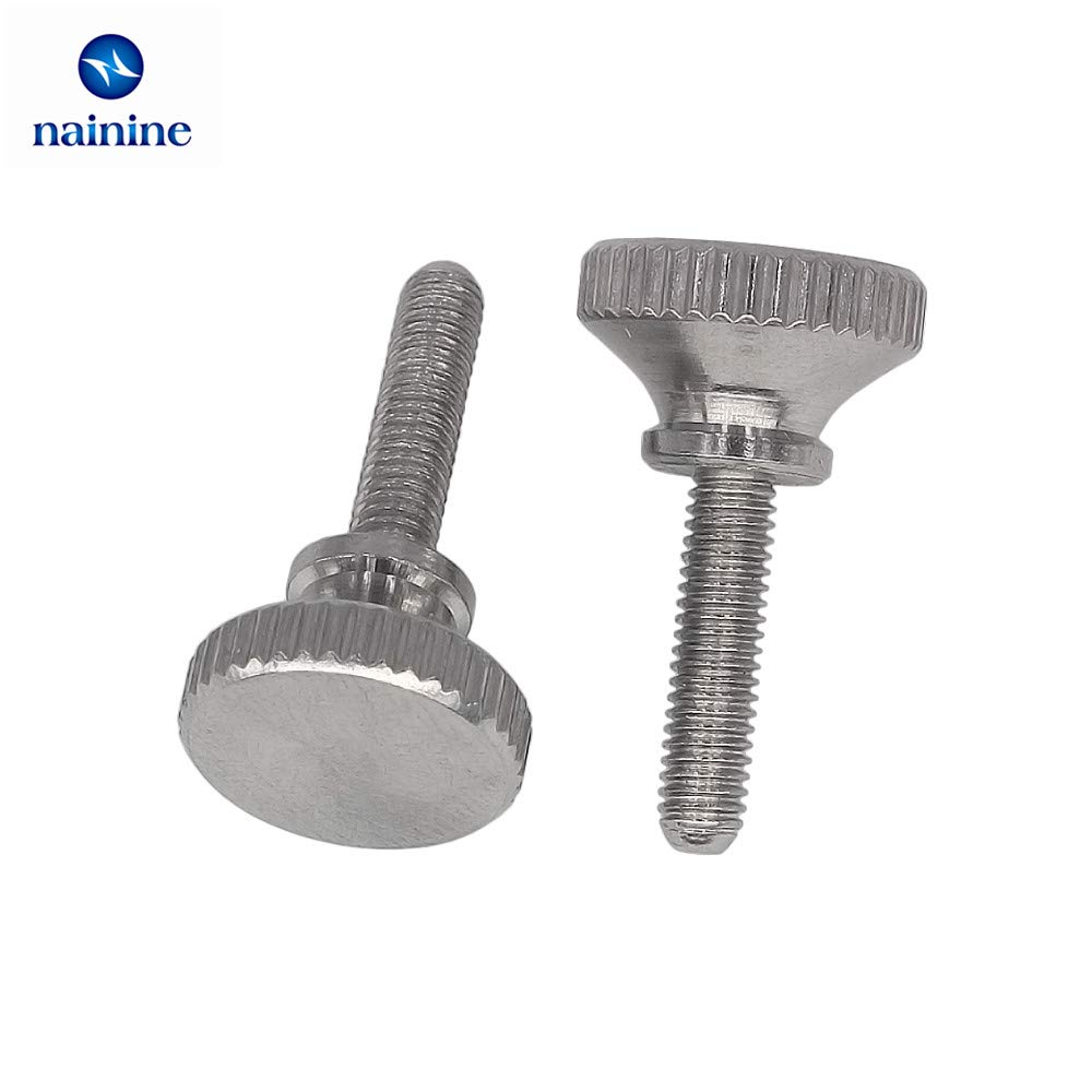 10Pcs DIN464 GB834 M2 M2.5 M3 M4 Stainless Steel Knurling Head Knurled Thumb Screw Hand Tighten Curtain Wall Lock Screws 069 Size:M2.5; Length:4mm Mercury/_Group Fasteners