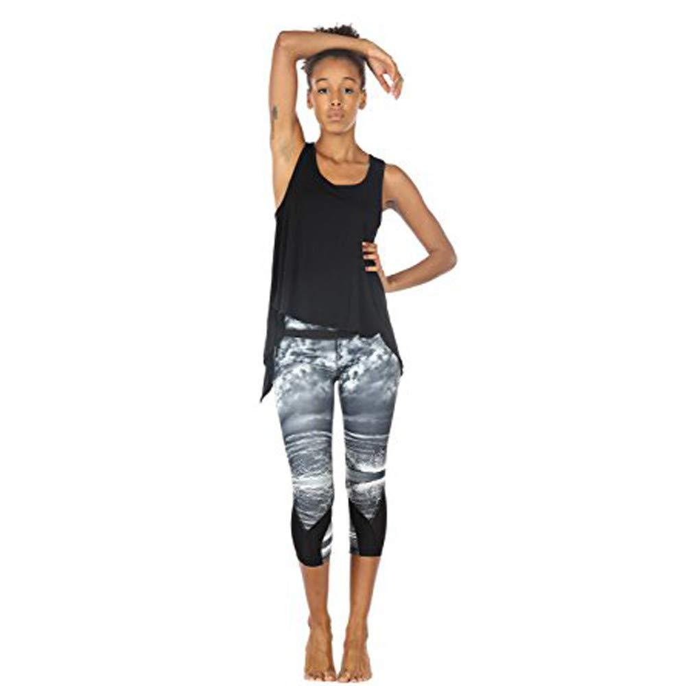 Women Sexy Yoga Scoop Neck Top Vest Cami Racerback Sleeveless Tank Sport Backless Table Blouse Black
