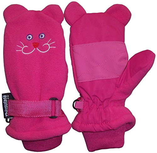 Face Mittens (N'Ice Caps Little Girls and Baby Cute Animal Faces Waterproof Winter Mittens (Fleece Kitty, 2-3yrs))