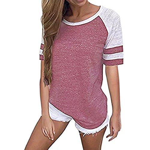 Basic Gyratedream Colorblock Top Tunica Tee Corta Estive Righe Rotondo Magliette Camicia Maglia Donna Rosso a Camicetta Baseball T Shirt Manica Casuale qOzwqrf
