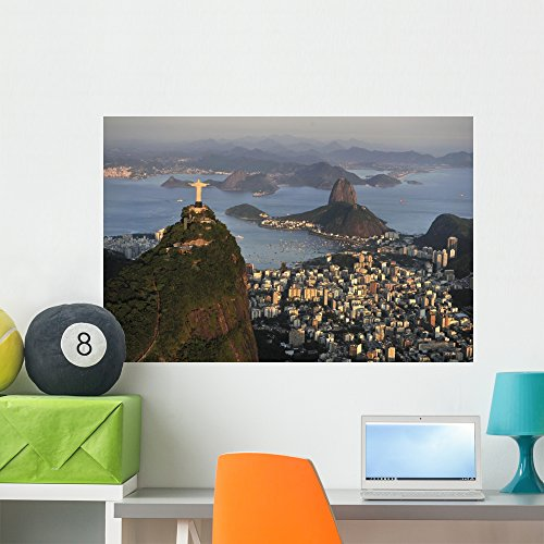 Wallmonkeys Aerial Christ Sugarloaf Guanabara Wall Mural Peel and Stick Graphic (36 in W x 24 in H) WM362189