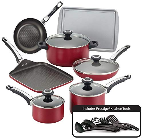 Farberware High Performance Nonstick Aluminum 17-Piece Cookware Set, Red