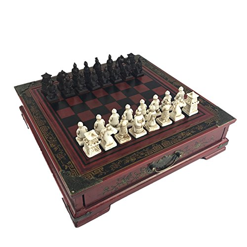 Ireav Chinese Retro Terracotta Warriors Chess Set Classic Folding Wooden Chess Set with 3D Resin Chess Pieces and Storage Slots