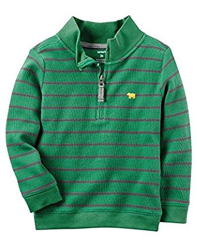 Carter's Boys Half-Zip Striped Sweater, Green/Grey, (3 (Half Zip Striped Sweater)