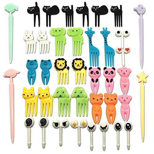 CKANDAY Set of 40 Lovely Animal Food Fruit Picks Forks, Mini Cute Cartoon Toothpick Sticks Decor for Kids Party Bento Lunch Box Sandwich Appetizer Pastry Decorative Cupcake Baby Dessert Cocktail ()