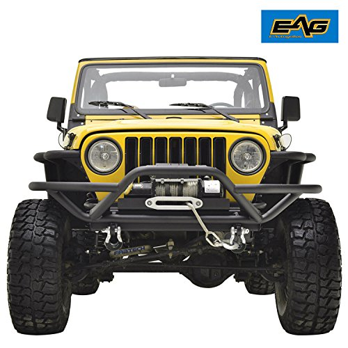 EAG Tubular Off Road Front Bumper and Winch Plate Combo for 87-06 Jeep Wrangler TJ YJ Jeep Yj Tube