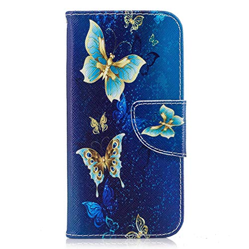 Painted Village - LG K10 2018 Case, Bear Village Painted Pattern Premium PU Leather Magnetic Wallet Case Cover with Kickstand and Card Holder ID Slot for LG K10 2018 (#6 Butterfly)