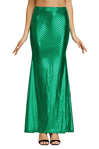 Halloween Womens Mermaid Costume Metallic Party Sequins Fish Scale Skirt Green ()
