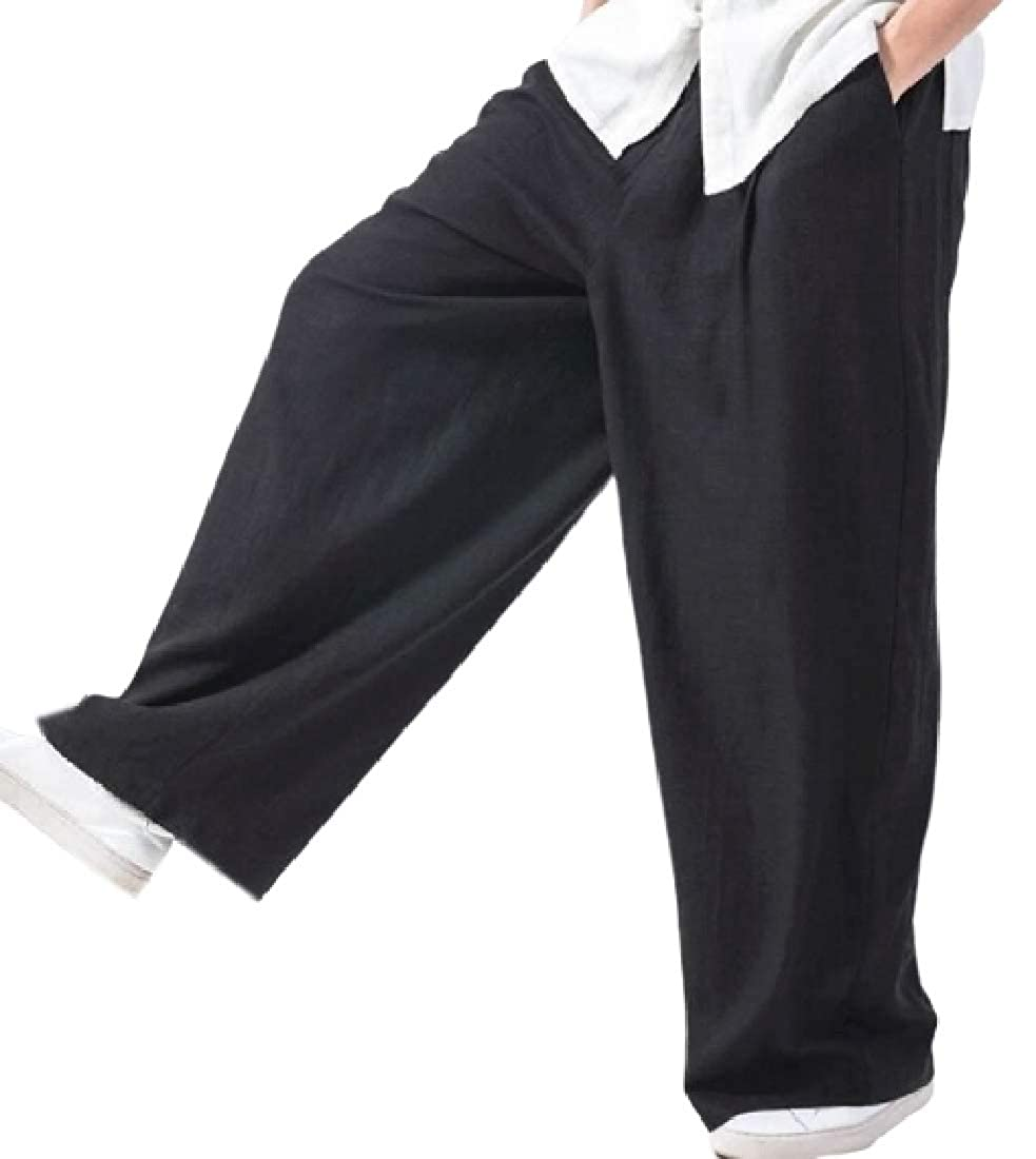 SELX Men Baggy Elastic Waist Wide Leg Straight Leg Summer Long Pants