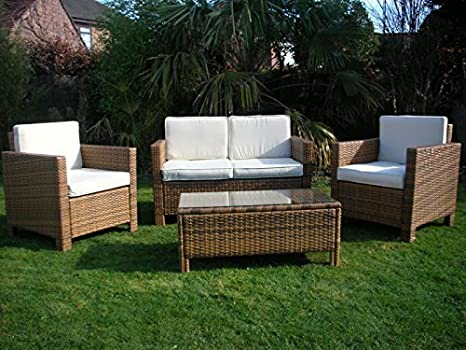 Nuevo Ratán Mimbre Invernadero Exterior Muebles De Jardín Juego - Luz mezclado marrón