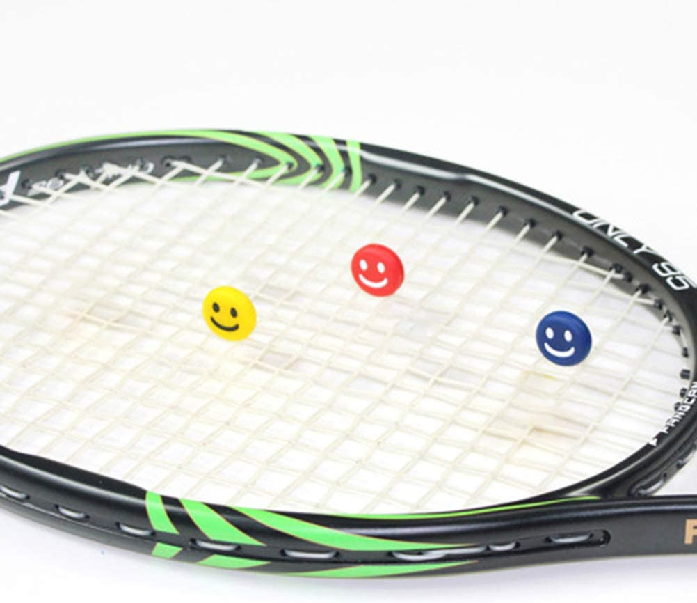 Great for Tennis Players Durable /& Long-Lasting Soft Silicon Tennis Racket Shock Absorber for Tennis Racket and Strings Smiley Shape 12pcs Woltop Racket Absorbers,Vibration Dampener