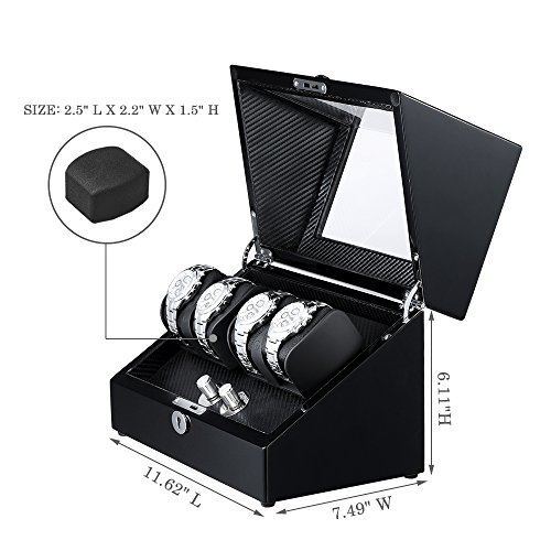 OLYMBROS Wooden Double Rotors Automatic Watch Winder Storage Boxes for 4 Watches with LED Light by Olymbros (Image #3)