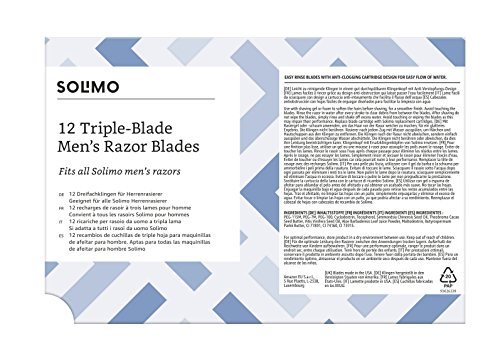 Marca Amazon- Solimo Recambios de cuchillas de triple hoja para maquinillas de afeitar para hombre (12 piezas): Amazon.es: Salud y cuidado personal