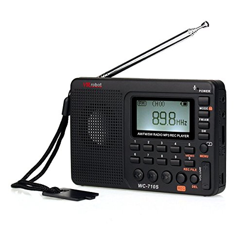 Portable AM FM Radio with Rechargeable Battery ,ShortwaveTransistor Radio , MP3 Player Speaker REC Voice Digital Recorder Support Micro SD T-Flash Card Sleep Timer