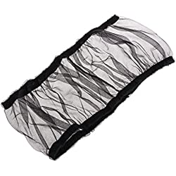 Onpiece Bird Cage Net cover, Nylon Mesh Bird Seed Catcher Guard Net Cover Shell Skirt Traps Cage Basket S M L (L, Black)