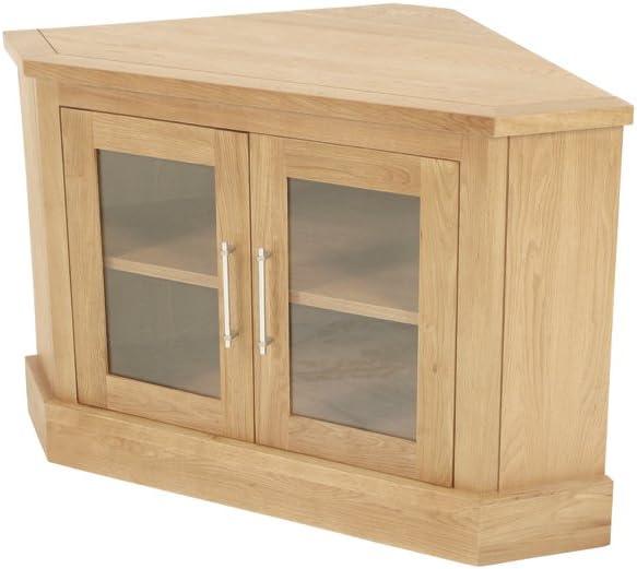 Armario de esquina para televisor - Salem mueble de esquina para televisor con 2 puertas de cristal - acabado: madera de roble - sala de estar: Amazon.es: Hogar