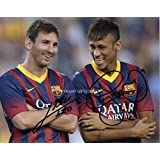 LIMITED EDITION LIONEL MESSI NEYMAR BARCELONA SIGNED PHOTO + CERT FOOTBALL PRINTED AUTOGRAPH SIGNATURE SIGNED SIGNIERT AUTOGRAM