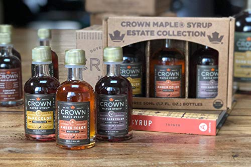 Crown Maple Organic Grade A Maple Syrup, Petite Trio, 1.7 Ounce, 3 Count