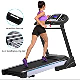 Anfan Folding Electric Treadmill Exercise Equipment Walking Running Fitness Machine Gym Home (Black)