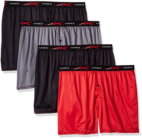 Hanes Men's X-Temp 4-Way Stretch Mesh Knit Boxer 4-Pack, Assorted Large