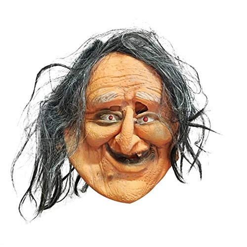 WRG_BOS 1 Pc Ugly Old Lady Halloween Mask Terror Devil Fancy Dress Party Props Horror Mask Scary Mask for Cosplay Panic Halloween -