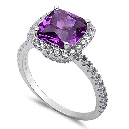 Oxford Diamond Co 9.50ct Cushion Cut Simulated Amethyst CZ .925 Sterling Silver Ring Size 8 ()