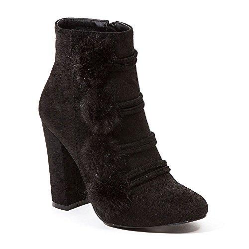 Suede Black Pom High Heel Furry Bootie French Pom Blu Women's qBTTwv