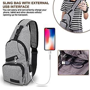 LCFUN Sling bag shoulder outdoor sports chest bag with USB Charging Port for Men Women travel backpack crossbody (Brown)