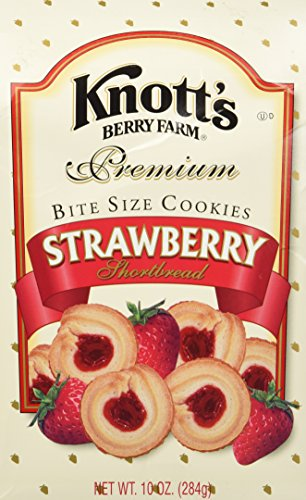 Knott's Berry Farm Premium Bite Sized Strawberry Shortbread Cookies Ten Ounce Gift - Shortbread Bites