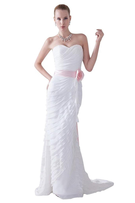 GEORGE BRIDE New Design Strapless Beaded Satin Ruched Wedding Dress